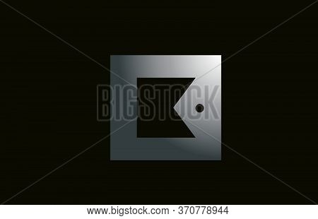 Grey Metal K Alphabet Letter Logo For Business And Company With Square Design. Metallic Template For