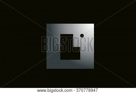 Grey Metal L Alphabet Letter Logo For Business And Company With Square Design. Metallic Template For