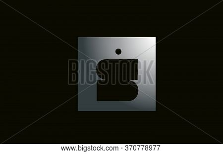 Grey Metal S Alphabet Letter Logo For Business And Company With Square Design. Metallic Template For