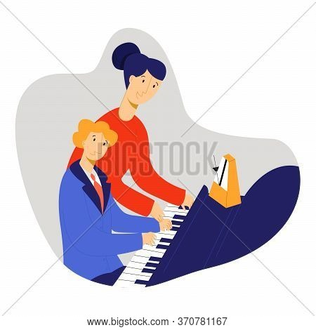 Vector Flat Illustration Child Playing A Piano