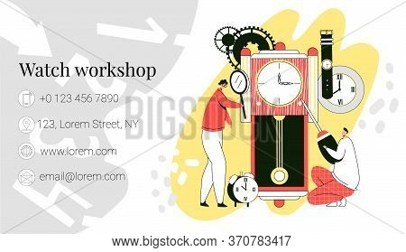 Vector Template, Business Card Layout For Repair And Restoration Of Watches. Watchmakers Who Work Wi
