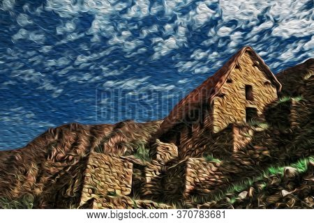 Stone Houses And Retaining Walls From Terraces In The Old Inca City Of Machu Picchu. Perched On A Ro