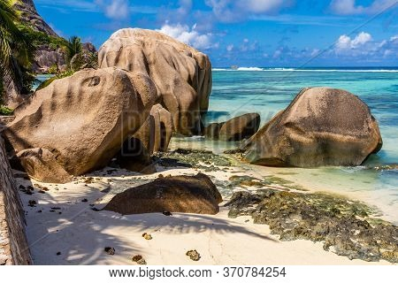 Seychelles, Amazing Tropical Beach, Paradise Beach In Praslin, Island Of Seychelles. High Quality Ph