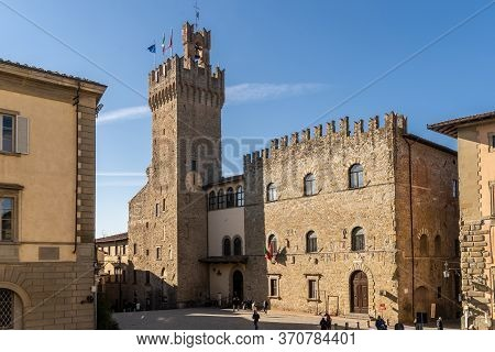 Arezzo, Tuscany, Italy, December 2019: Palazzo Dei Priori And Its Clock Tower. Seat Of The Town Hall