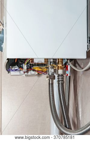 The Hot Water Connection Of The Gas Equipment In The House. Engineering Water Heating, Clean Gas Pip