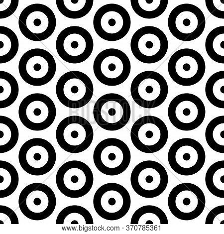 Repeated Small And Big Black Circles Background. Seamless Surface Pattern Design With Circular Ornam