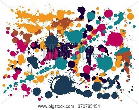 Graffiti Spray Stains Grunge Background Vector. Colored Ink Splatter, Spray Blots, Dirt Spot Element