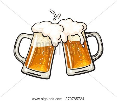 Two Toasting Beer Mugs, Cheers. Clinking Glass Tankards Full Of Beer And Splashed Foam