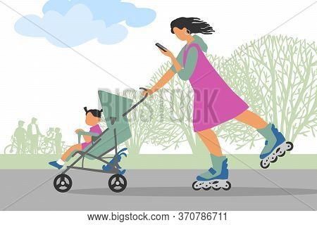 A Walk In The Park. A Mother On Roller Skates Walks With A Child In A Stroller. Mom Looks At Her Pho