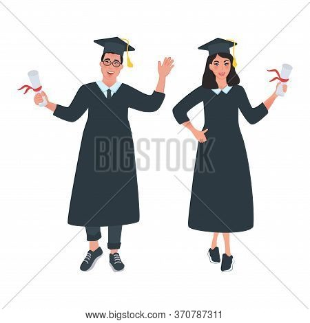 Graduates With Diplomas. Guy And Girl Graduated From University. Vector Illustration In Cartoon Styl