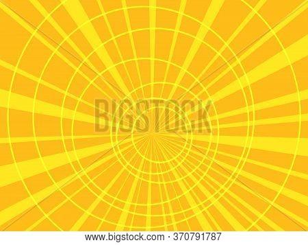 Yellow Pop Art Background With Circles. Pop Art Retro Vector Illustration 50s 60s Kitsch Vintage Sty