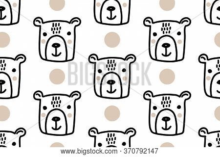 Hand Drawn Lines Cartoon Bear. Doodle Seamless Pattern For Kids Isolated On White Background