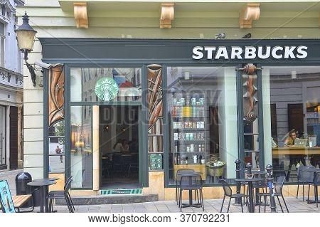 Bratislava, Slovakia - June 8, 2020: Starbucks Coffee Coffeehouse In Central Bratislava, Slovakia. S