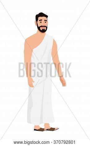 Hajj Pilgrim In Ahram ( Religious Dress) Vector