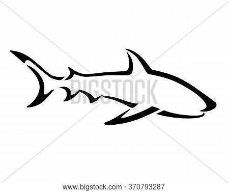 Shark - Stylized Vector Sign For Logo Or Pictogram. Shark - A Predatory Ocean Dweller - Elegant, Sty