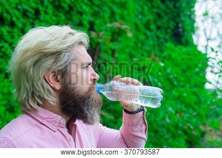 Bearded Man Drinking Water. Hydration Concept. Aqua. Dehydration. Man Drink Water Outdoor. Man With
