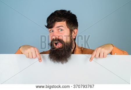 Copy Space. Advertising. Bearded Man With Blank Board. Space For Text. Man Holds Empty Board. Advert