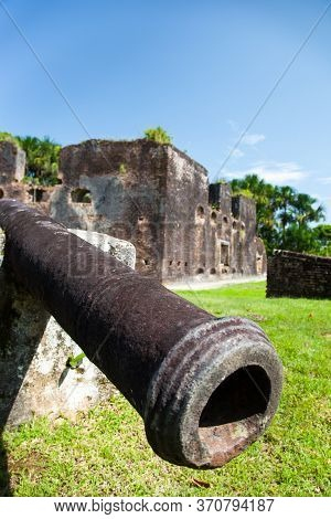 Ancient Guns Of The Fort Zeelandia Fortress In The Subtropics Against A Background Of Green Trees An