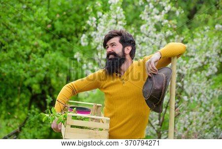 Work In Garden. Eco Farm. Farm. Bearded Gardener With Gardening Tools. Spring Farming. Gardener Work