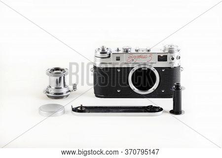 The Very Rare Old Soviet Rangefinder Film Camera Zorki-5, Released 1958 On White Background.