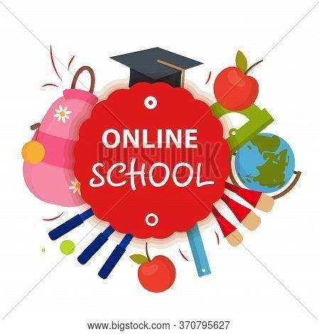 Online School, Education, Course Badge. Online School, Education Tag. E-learning, E-lesson, E-course