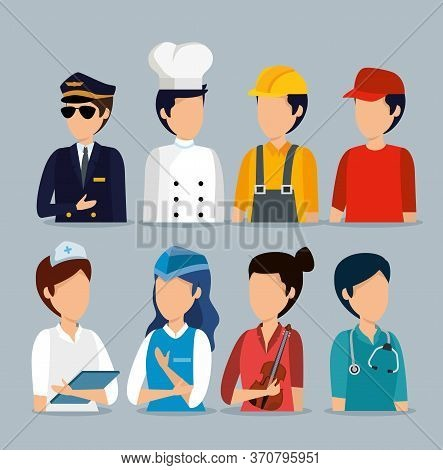 Set Professional Employers To Labor Day Celebration Vector Illustration