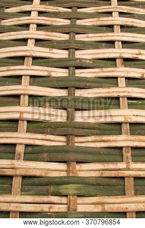Bamboo Weave Texture Background Design Natural Handicraft Vertical. Nature Background Of Green And Y