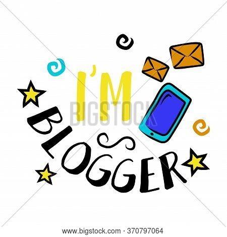 Vlog And Blog Design Element, Blogging Badge Vector Illustration. Screen Saver With Text For Blog: I