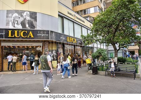 10th June 2020- Bucharest, Romania. People Waiting In Line To Get Inside The Bank \