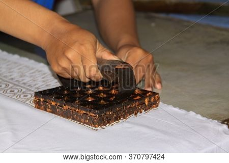 Batik Wax Stamp Process In Winotosastro Factory In Yogyakarta, Java, Indonesia. Batik Motif Sample D