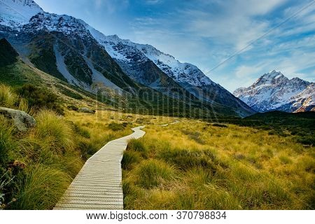 The Wooden Boardwalk Providing The Pathway Through Hooker Valley Track In Aoraki Mt Cook National Pa
