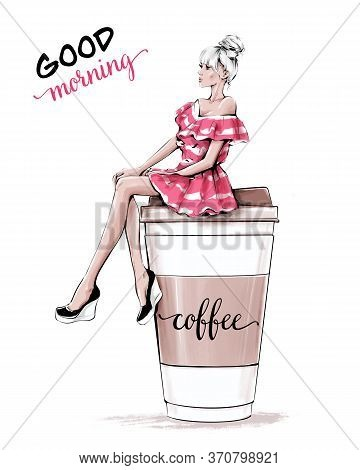 Hand Drawn Beautiful Young Woman Sitting On Large Plastic Coffee Cup. Fashion Woman In Striped Pink