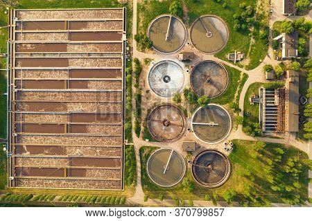Modern Wastewater Treatment Plant. Water Purification Tanks, Aerial Top View.