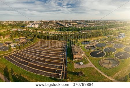 Modern Urban Wastewater Treatment Plant With Sedimentation Tanks And Pools For Aeration And Cleaning