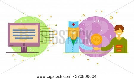 Cryptocurrency Process And Mining Set. Flat Vector Illustration Collection In Crypto Theme. Crypto C