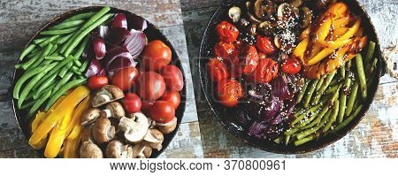 Vegetables In A Pan Before And After Baking. Vegan Dish. Autumn Food. Healthy Bright Food. Cooking A