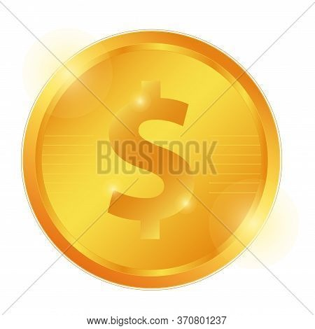 Dollar Gold Coin, Logo, Sign. Currency Gold Coin. International Currency. Dollar Sign. Cash