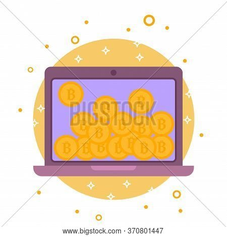 Cryptocurrency Process And Mining Icon. Flat Vector Illustration In Crypto Theme. Crypto Currency La