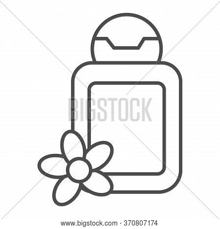 Cosmetic Bottle With Flower Thin Line Icon, Spa Salon Concept, Oil Bottle Sign On White Background,