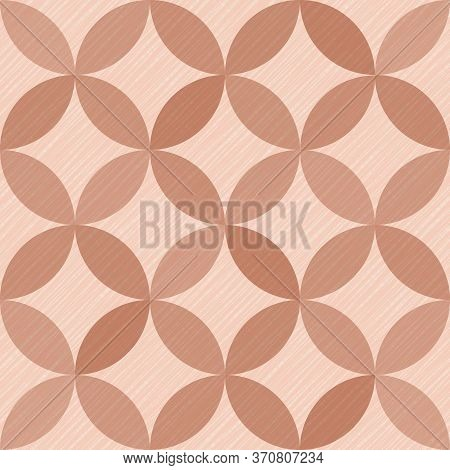 Interlacing Circles Parts Trendy Seamless Vector Pattern. Guatrefoil Flower Brown Diamond Lattice En