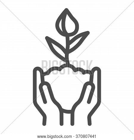 Human Hands Hold Closed Tulip Bud In Soil Line Icon, Spring Concept, Flower Bud Sign On White Backgr