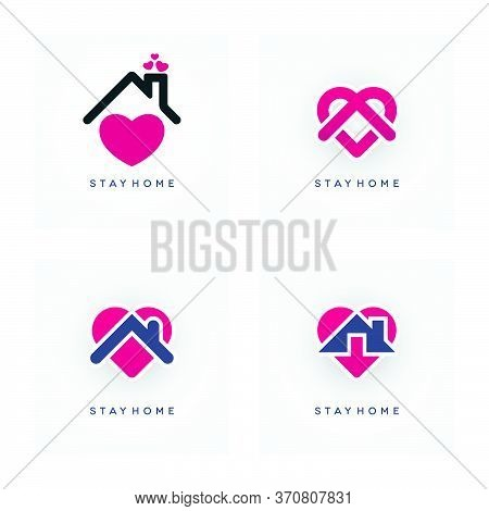 Stay Home Coronavirus Pandemic Concept Design. Covid-19 Epidemic Social Isolation Icon Set With Abst
