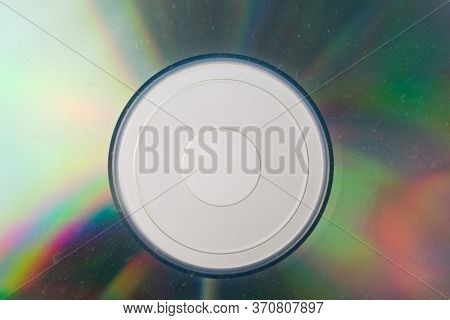 Cd Disk Isolated On Grey Background Closeup