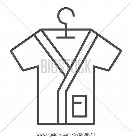 Bathrobe On Handle Thin Line Icon, Spa Salon Concept, Bathrobes Sign On White Background, Beauty Sal