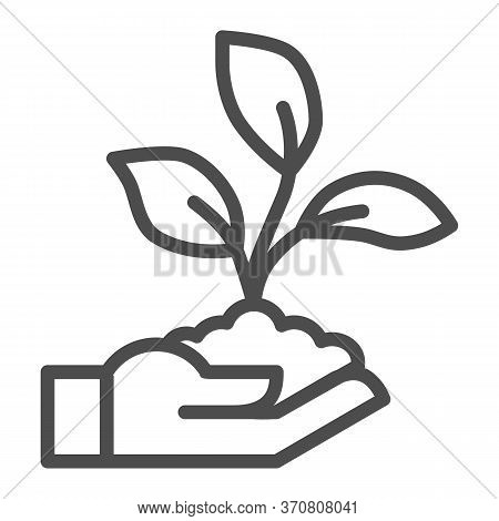 Sprout In Hand Line Icon, Ecology Concept, Hand Holding Seedling With Three Leaves Sign On White Bac