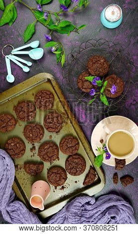 Baking Double Chocolate Chip Homemade Cookies Creative Concept Flat Lay.