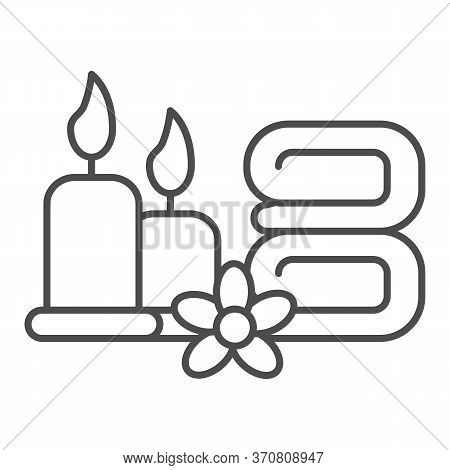 Towels With Flower And Burning Candles Thin Line Icon, Spa Salon Concept, Massage, Wellness And Spa