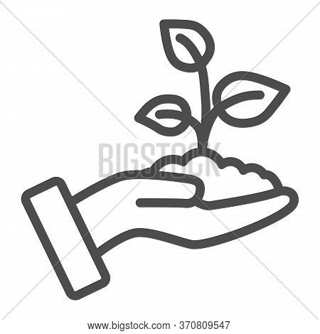 Sprout In A Hand Line Icon, Save Nature Concept, Sprout Symbol On White Background, Young Growth Wit
