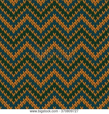 Bright Chevron Stripes Christmas Knit Geometric Seamless Pattern. Ugly Sweater Knitting Pattern Imit