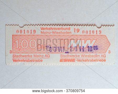 Mainz - Jun 2020: Vintage Mainz Public Transport Ticket
